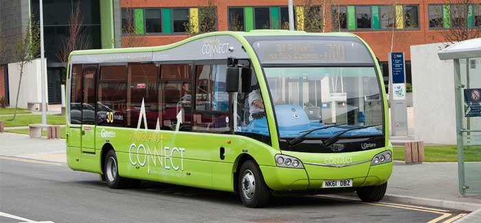 Green bus in Sunderland