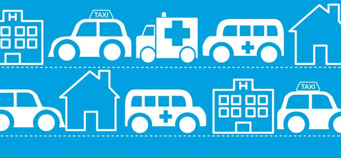 Graphic depicting different forms of transport travelling between homes and hospitals