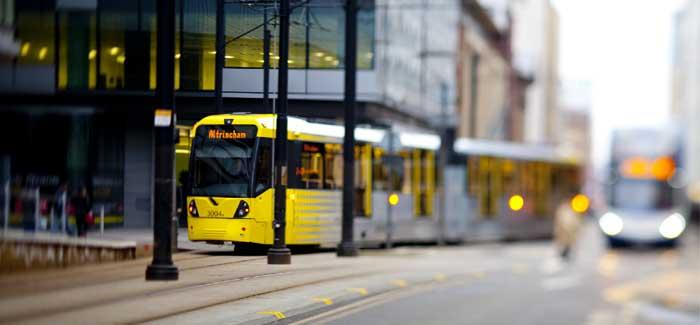Manchester Metrolink on a city street
