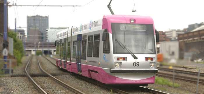 Midland Metro in urban environment