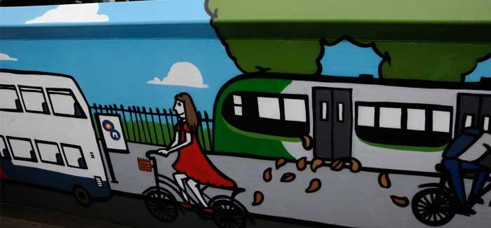 A mural depicting transport choices