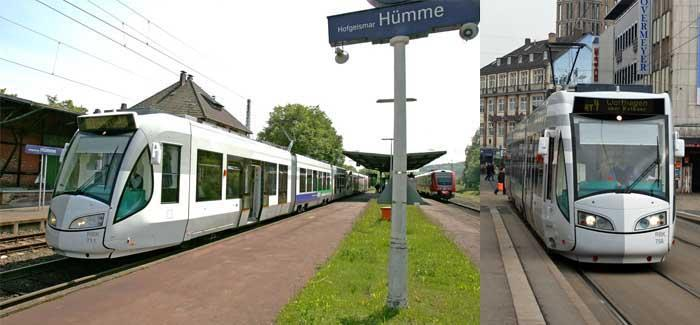 Tram-train in Kassel, Germany