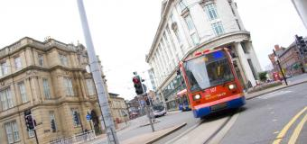 Sheffield Supertram on a city street
