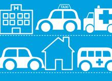 Graphic illustrating different vehicles travelling between homes and healthcare