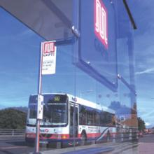 Bus and bus stop in Greater Manchester