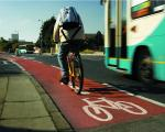 Bus with cycle lane alongside