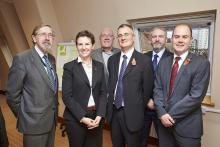 Mary Creagh meeting, Leeds 27 October 2014. Pictured (L-R): Cllr Andrew Fender (Greater Manchester); Mary Creagh MP; Cllr Frank Lott (North East Combined Authority); Cllr James Lewis (West Yorkshire); Cllr Bill Mordue (South Yorkshire); Cllr Liam Robinson (Merseyside).