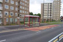 Bus stop in West Yorkshire