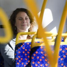 Female bus passenger in Tyne and Wear