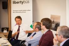 Tristen Dodd, Director of Transport Policy, States of Jersey (left) makes a point at the UTG bus franchising masterclass