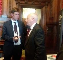 Tobyn Hughes speaking to Andy MacDonald MP